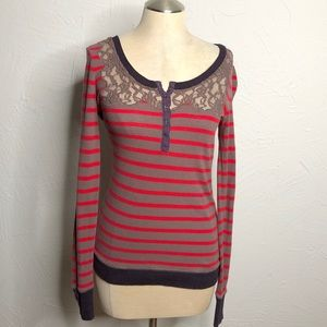 Free People lace Henley thermal stripe button cuff